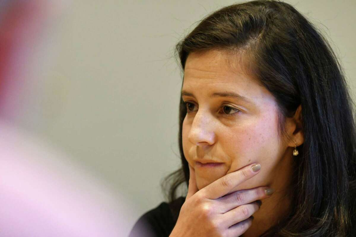 U.S. Rep. Elise Stefanik speaks to the Times Union editorial board on Monday, Oct. 15, 2018, in Colonie, N.Y. (Will Waldron/Times Union)