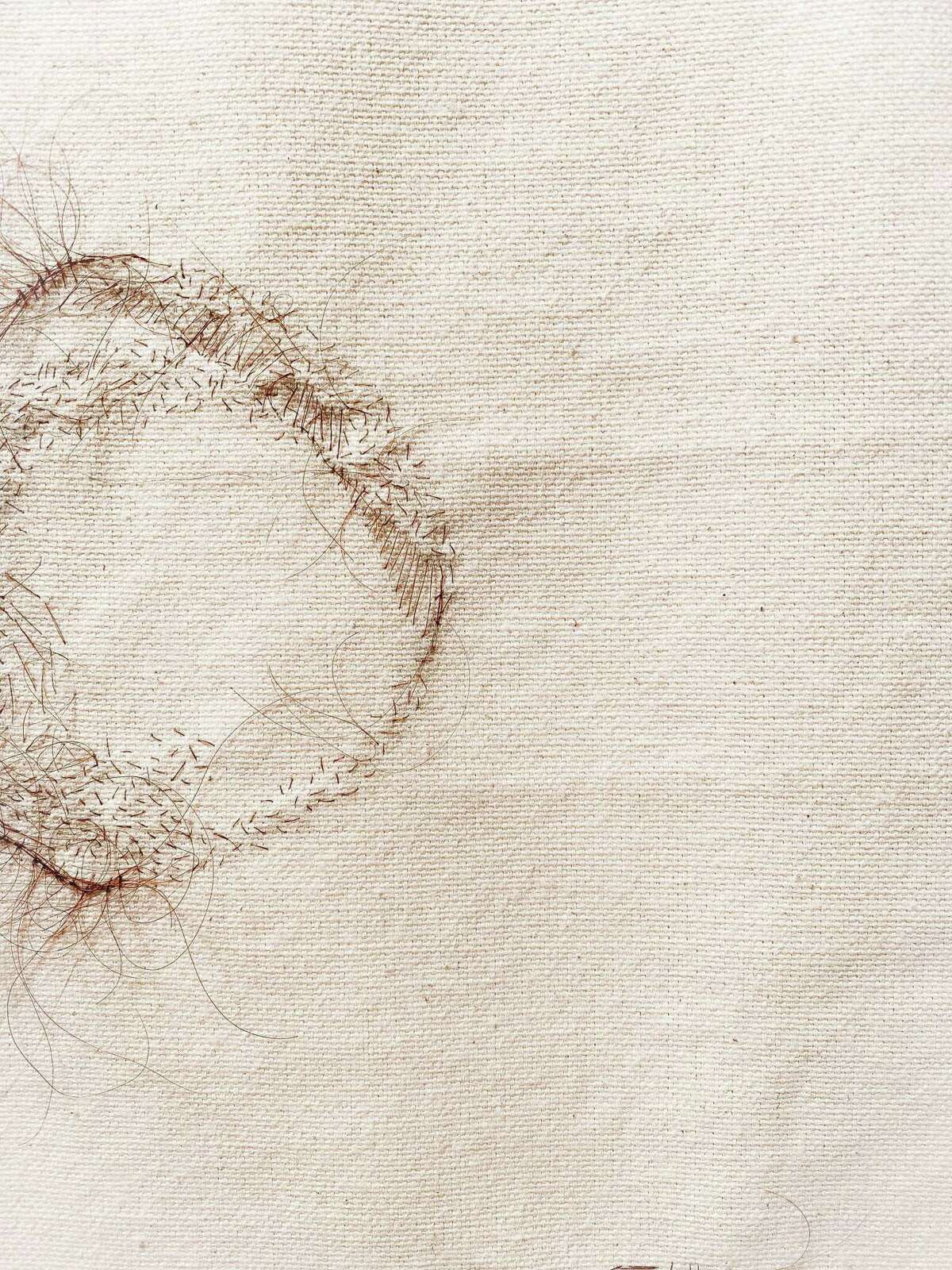 """Rosemary Meza-DesPlas' """"In Spite of Ourselves,"""" which is made from hand-sewn human hair on unprimed canvas, is part of the """"CuerposUnidos"""" exhibit at Clamp Light Artist Studios & Gallery."""