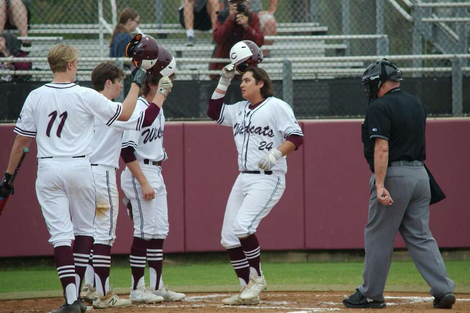 Clear Creek Isaac Lopez (24) is congratulated by teammates after belting a three-run homer against Clear Brook Tuesday at Mallory Field in League City. Photo: Kirk Sides / Staff Photographer / © 2019 Kirk Sides / Houston Chronicle