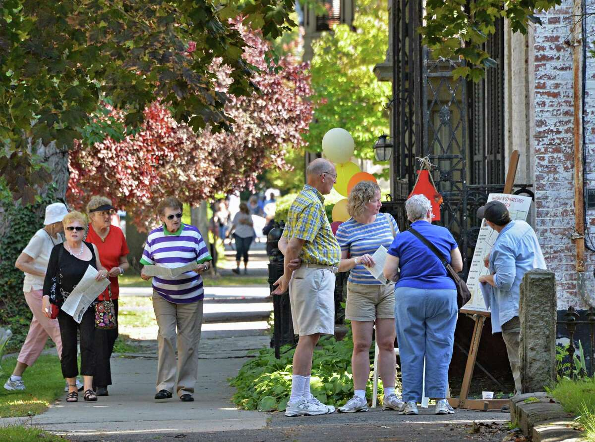 Union Street's sidewalks fill during the Stockade Walkabout in 2014. (John Carl D'Annibale / Times Union)
