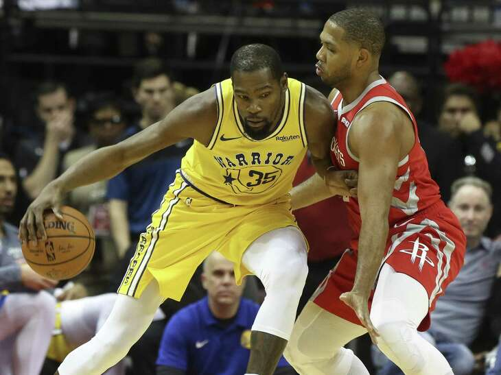 In Warriors superstar Kevin Durant, left, Eric Gordon and the Rockets will be facing the MVP of the last two NBA Finals.