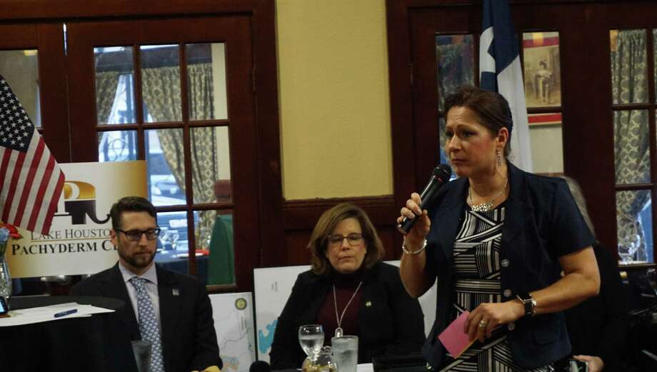 Nikki Roux speaks at the panel on flood-related policies hosted by the Lake Houston Pachyderm Club on March 11, 2019 in Atascocita, TX. Photo: Nguyen Le / Staff Photo