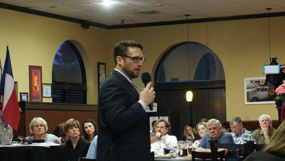 Matthew Zeve speaks at the panel on flood-related policies hosted by the Lake Houston Pachyderm Club on March 11 in Atascocita. Photo: Nguyen Le / Staff Photo