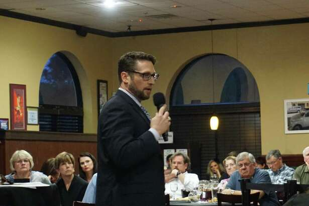 Matthew Zeve speaks at the panel on flood-related policies hosted by the Lake Houston Pachyderm Club on March 11 in Atascocita.