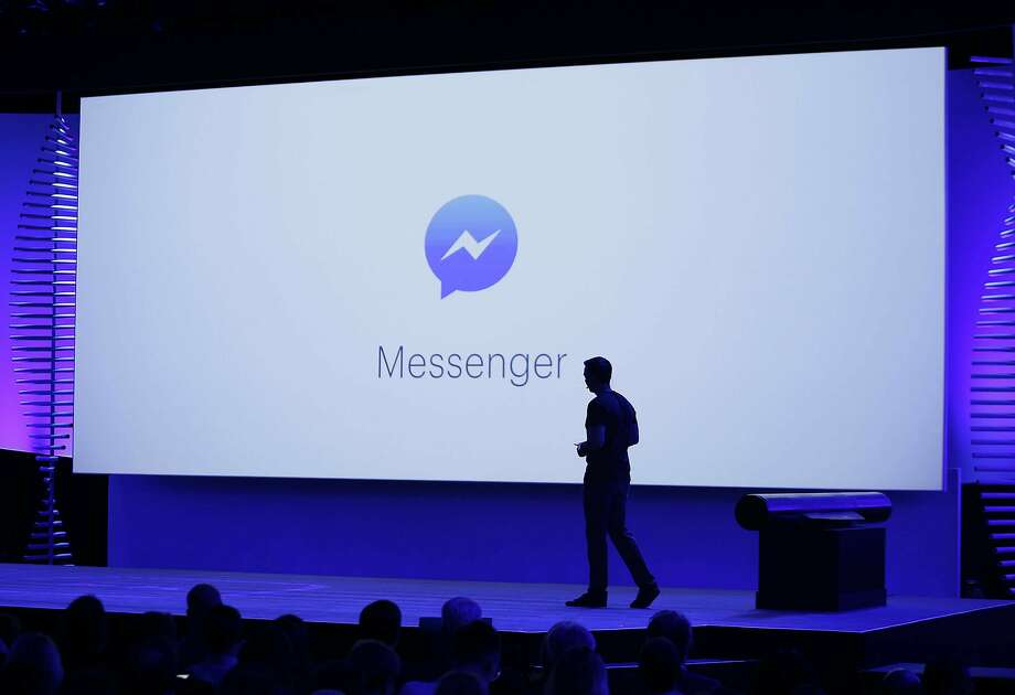 New features of Messenger are displayed during the keynote address at the F8 Facebook Developer Conference in San Francisco in 2016. Facebook is continuing to expand its horizons. Photo: Eric Risberg / Associated Press 2016