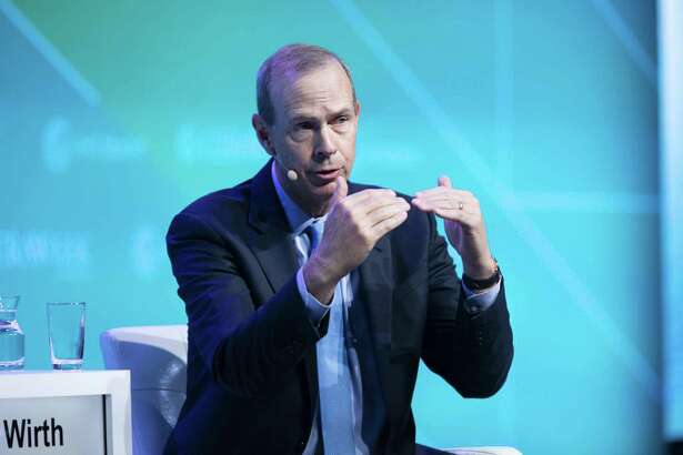 Mike Wirth, chairman and chief executive officer of Chevron Corp. He and his counterpart at Exxon Mobil, Darren Woods, face shareholder resolutions to split the roles of chairman and CEO.