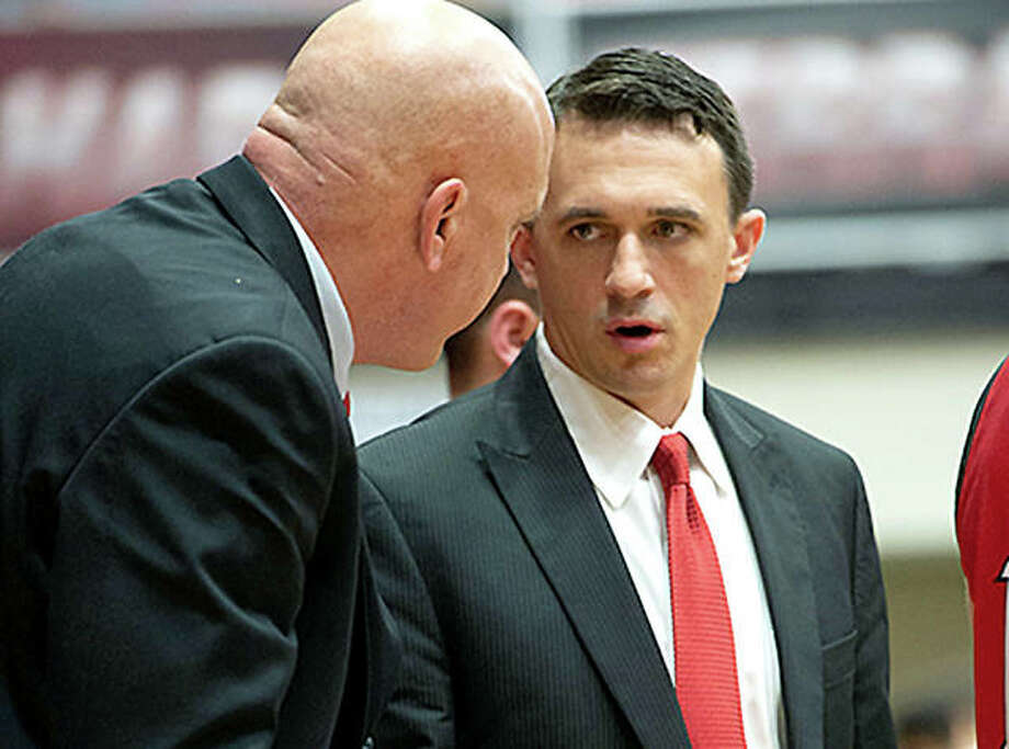 Brian Barone, right, has been named interim head coach of the SIUE men's basketball team, pending Board of Trustee approval. Barone will begin directing the program following Jon Harris, whose contract was not renewed. At left is assistant SIUE coach and former Edwardsville High head coach Mike Waldo. Photo: SIUE Athletics