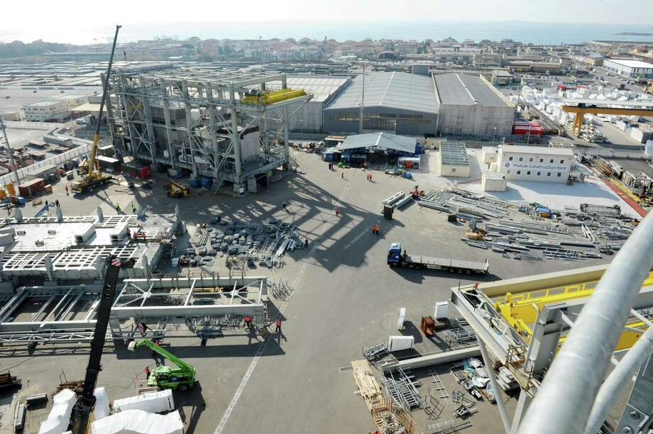 Aerial view of a Baker Hughes manufacturing facility in Avenza, Italy. Photo: Courtesy Photo / Baker Hughes, A GE Company