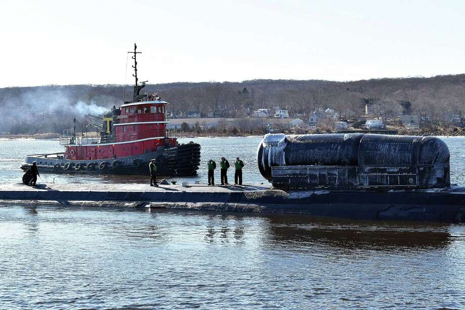 USS North Dakota (SSN 784) returns from deployment to its home port at Naval Submarine Base in New London in January. Photo: Photo By Tristan B. Lotz