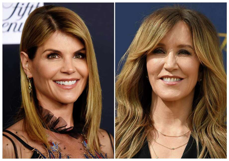 FILE-- This combination photo shows actress Lori Loughlin at the Women's Cancer Research Fund's An Unforgettable Evening event in Beverly Hills, Calif., on Feb. 27, 2018, left, and actress Felicity Huffman at the 70th Primetime Emmy Awards in Los Angeles on  Sept. 17, 2018. Loughlin and Huffman are among at least 40 people indicted in a sweeping college admissions bribery scandal. Both were charged with conspiracy to commit mail fraud and wire fraud in indictments unsealed Tuesday in federal court in Boston.  / AP