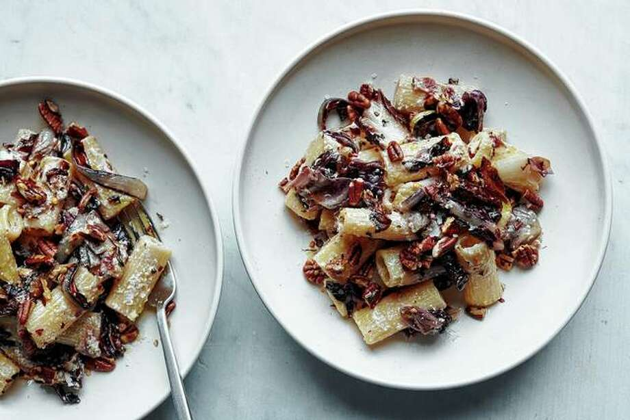 Charred under the broiler and paired with ricotta, bacon and pecans, radicchio is tamed in this wintry pasta. Photo: David Malosh | The New York Times
