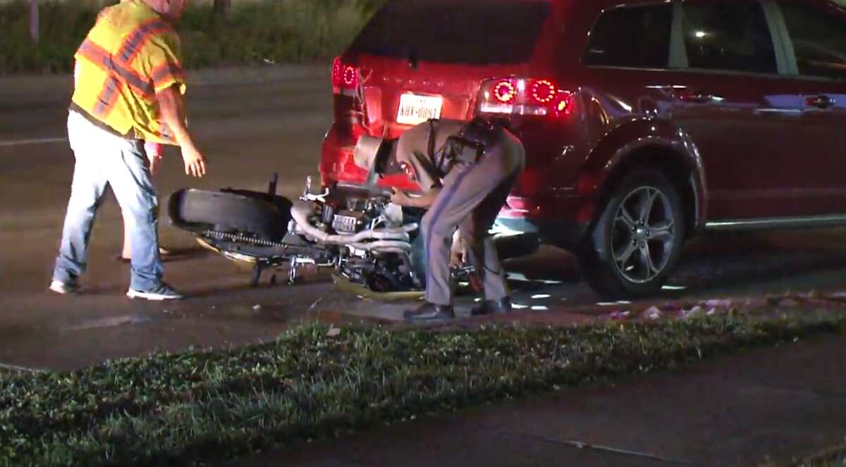 A motorcycle rider was taken to a hospital late Tuesday after crashing into the back of a car during a high-speed chase in west Houston, according to Metro Video.