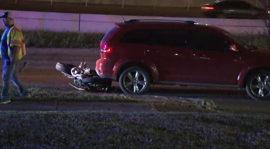 A motorcycle rider was taken to a hospital late Tuesday after crashing into the back of a car during a high-speed chase in west Houston, according to Metro Video. Photo: Metro Video