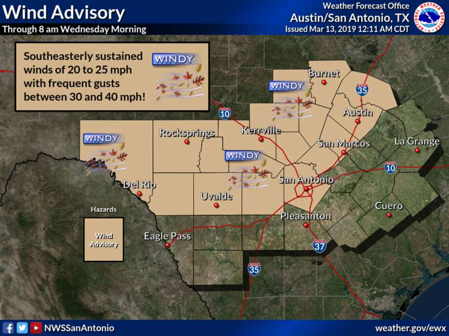 NWS: Winds have been gusty ahead of the approaching storm system. Because of this a Wind Advisory is now in effect for areas north of a Del Rio to Uvalde to San Antonio line and West of I-35. Sustained winds of 20-25 mph can be expected with frequent gusts to between 30 and 40 mph. Photo: National Weather Service