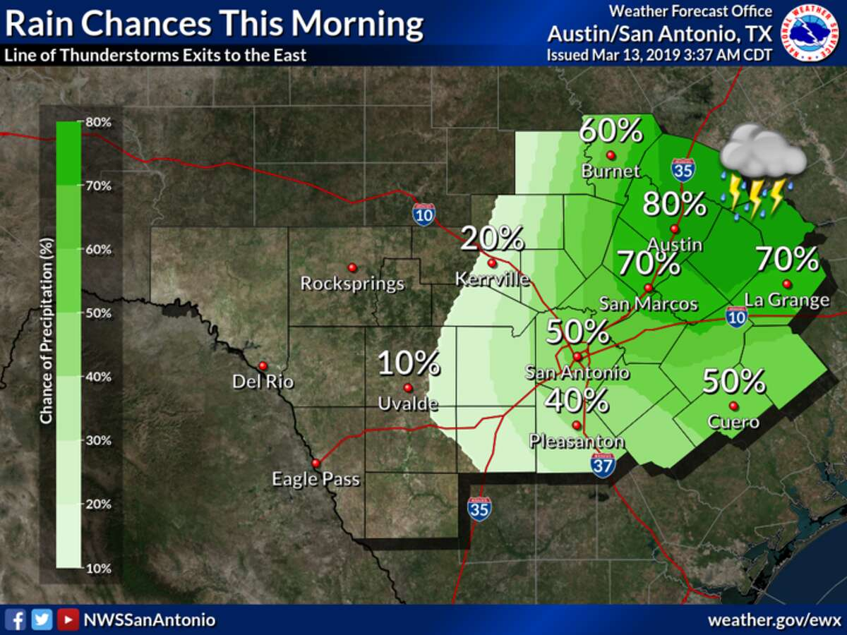 NWS: A line of thunderstorms will shift east of the region this morning with highest rain chances today northeast of San Antonio. Some storms will be capable of gusty winds as they reach the Interstate 35 corridor, but will continue to weaken as they move east.