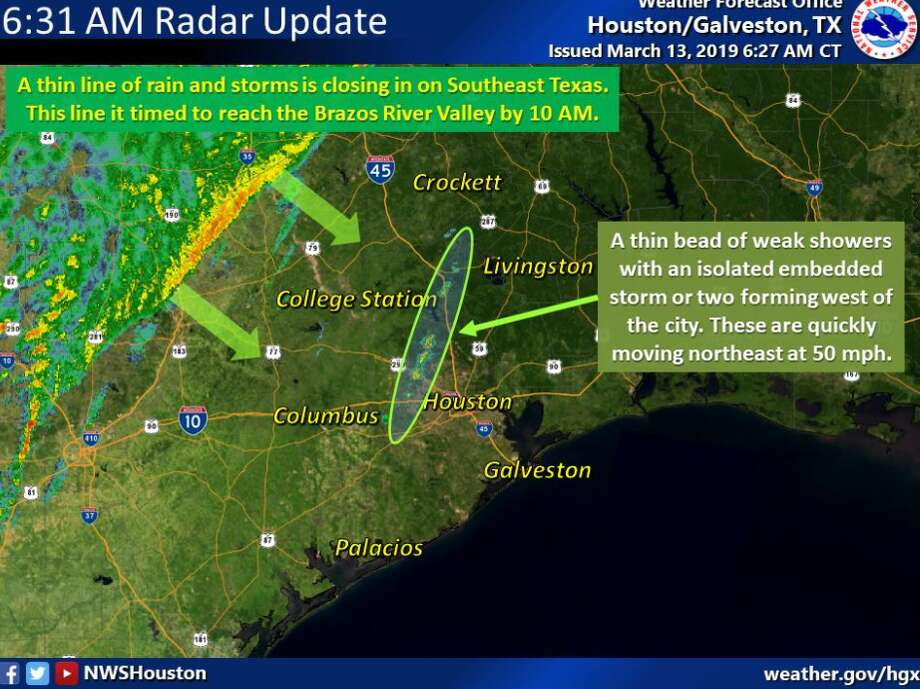 The National Weather Service reports a thin line of showers and thunderstorms moving closer to the Houston area. The area is currently under a wind advisory until 11 a.m. Photo: National Weather Service