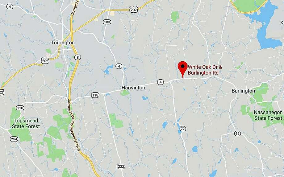 Route 4 (Burlington Road) in Harwinton isis shut down to all traffic between Terryville Road (Route 72) and County Line Road due to a head-on crash that involves injuries. The crash happened near White Oak Drive around 8:30 a.m. Wednesday, March 13, 2019. Photo: Google Maps