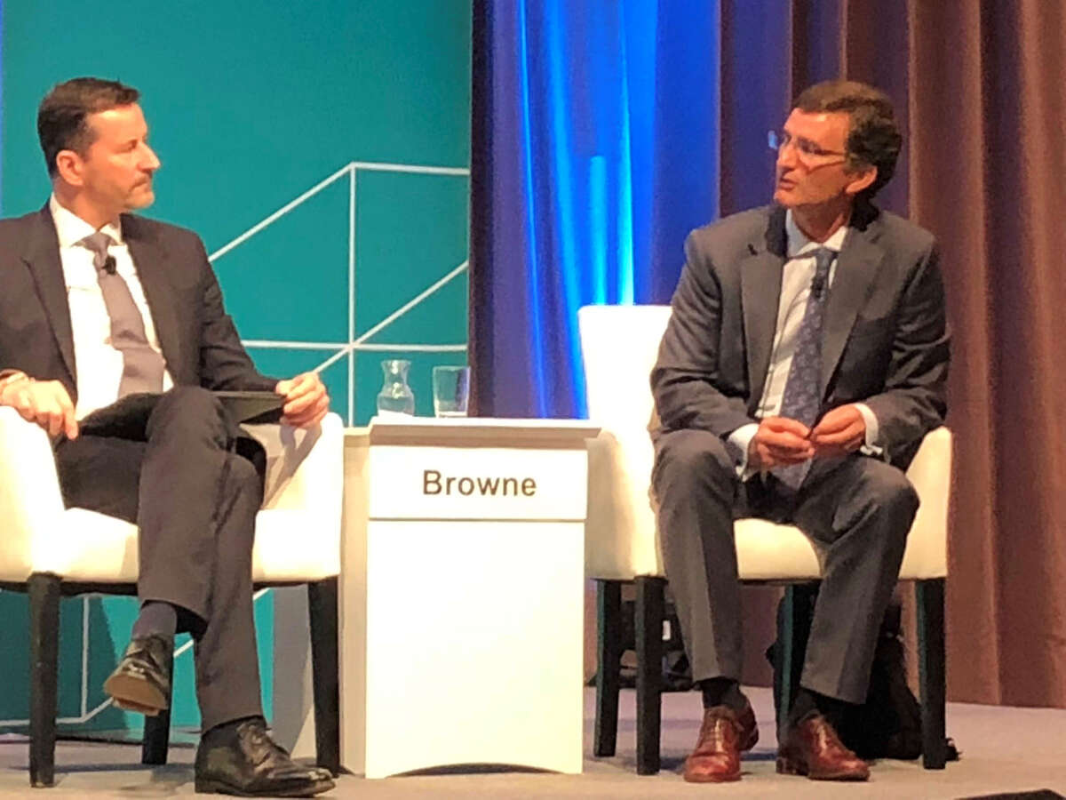 During a March 13, 2018 panel discussion at CERAWeek by IHS Markit, YPF Executive Vice President Marcos Browne, right, speaks about his company's plans to use the development of the Vaca Muerta Shale Play and offshore liquefied natural gas technology to allow Argentina to become an exporter of natural gas.