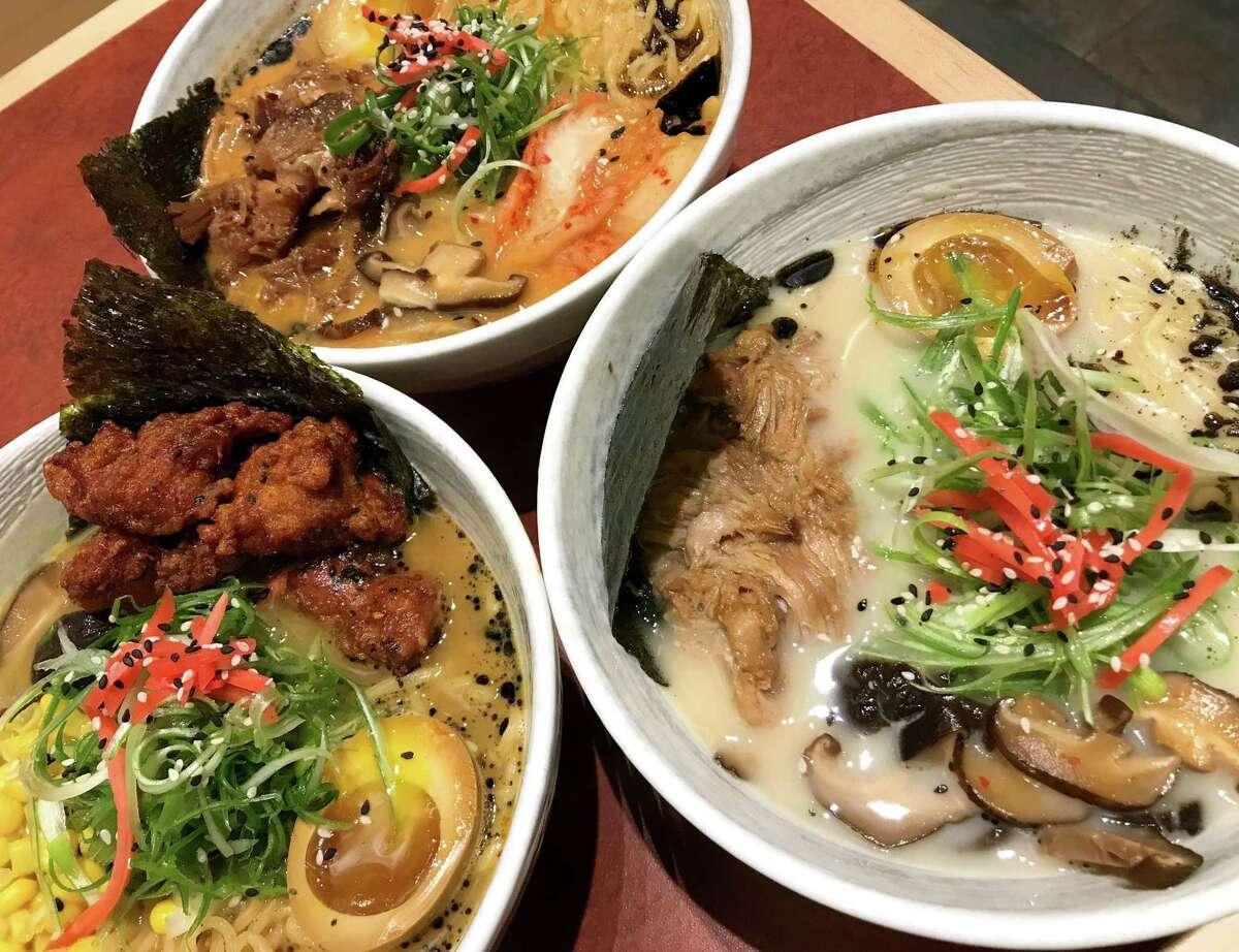 Taipei chicken curry ramen (left), spicy kimchi ramen (top) and hakata ramen from Noodle Tree.