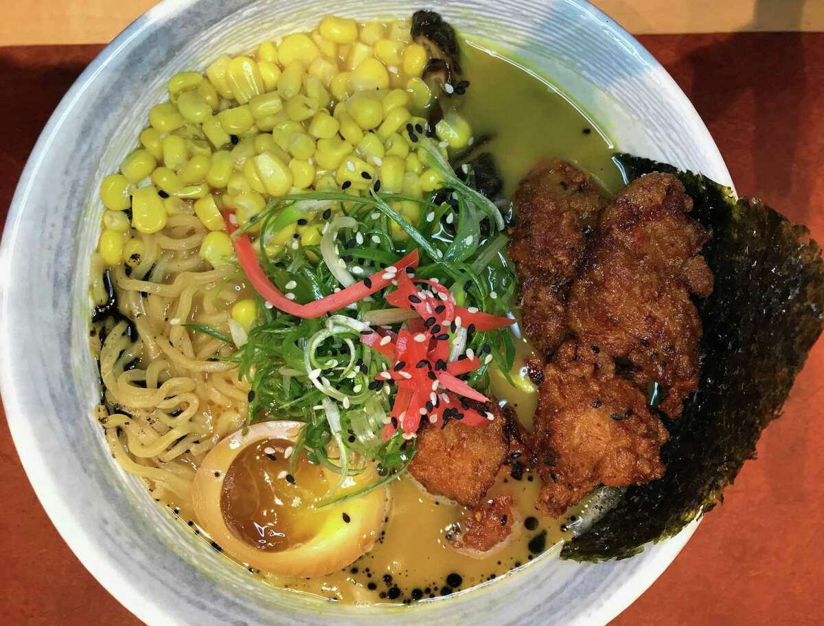 NOODLE TREE 7114 UTSA Blvd., #101, 210-233-6371, noodletreetx.com Pictured: Taipei chicken curry ramen. It contains corn, karage, chili oil, green peas, egg, scallions and garlic oil.