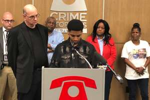 Jaylon Lockett, 16, pleads for help finding the person who killed his father last year at a Crime Stoppers news conference on Wednesday, March 13, 2019.