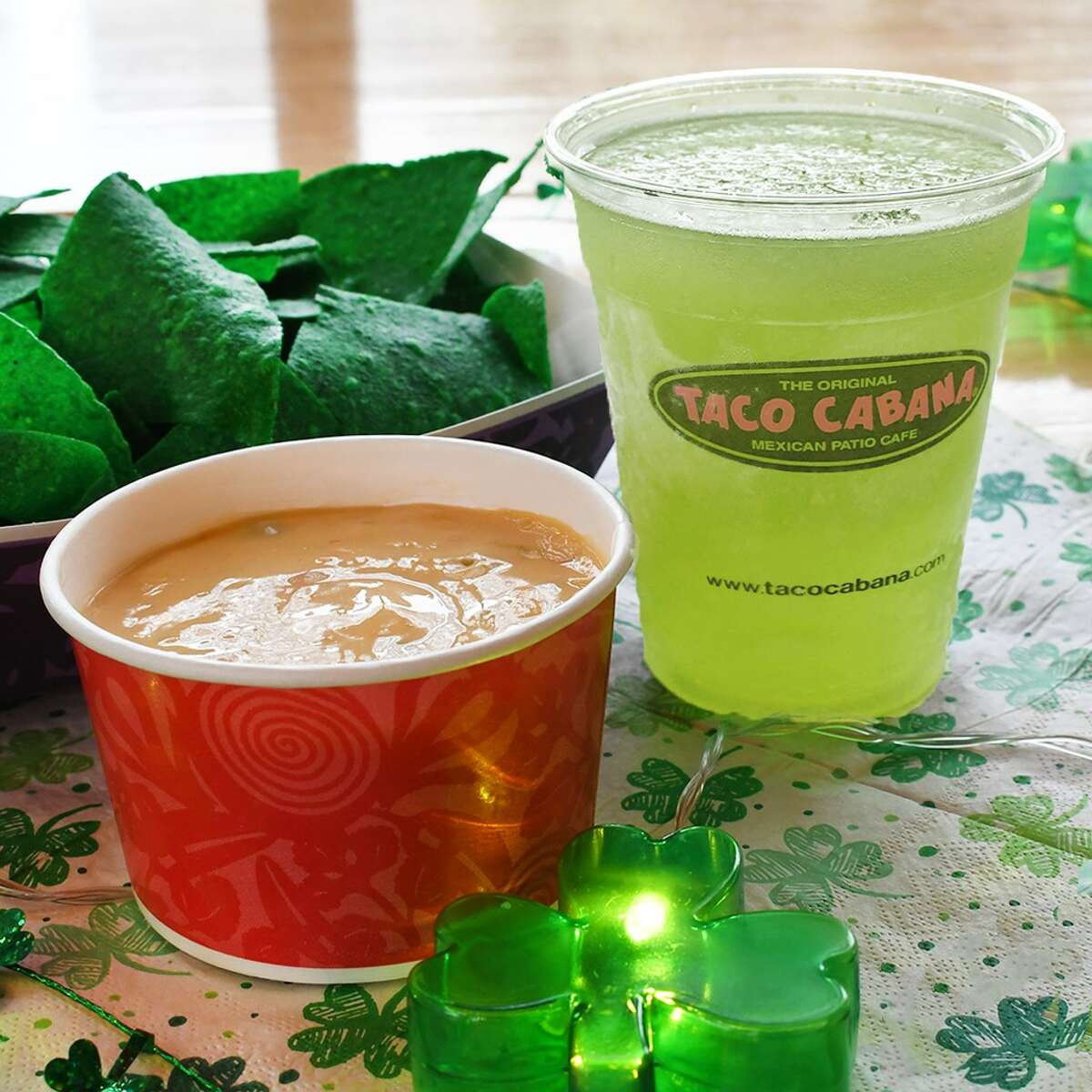 TACO CABANA Where: Multiple locations; see tacocabana.com What: Now thorough St. Patrick's Day, Taco Cabana restaurants are offering a special green drink - Frozen Green Apple made with Tito's - for $4.