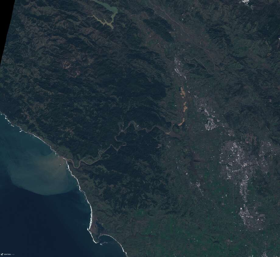 View from the Sentinel-2 satellite of the Russian River draining into the Pacific Ocean on March 11, 2019. Photo: National Weather Service