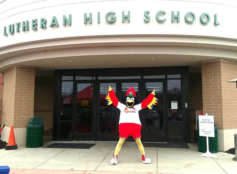 Fredbird poses in front of Metro-East Lutheran High School during last year's Scott Credit Union Metro East Home and Garden Show. This year's show is Saturday and Sunday at MELHS, with Fredbird scheduled to appear at 1:30 p.m. Sunday. Photo: For The Intelligencer