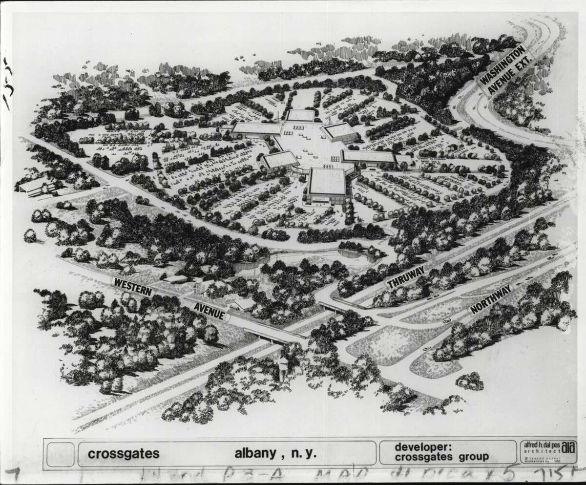 A developer's sketch of Crossgates Mall in Guilderland in 1978.