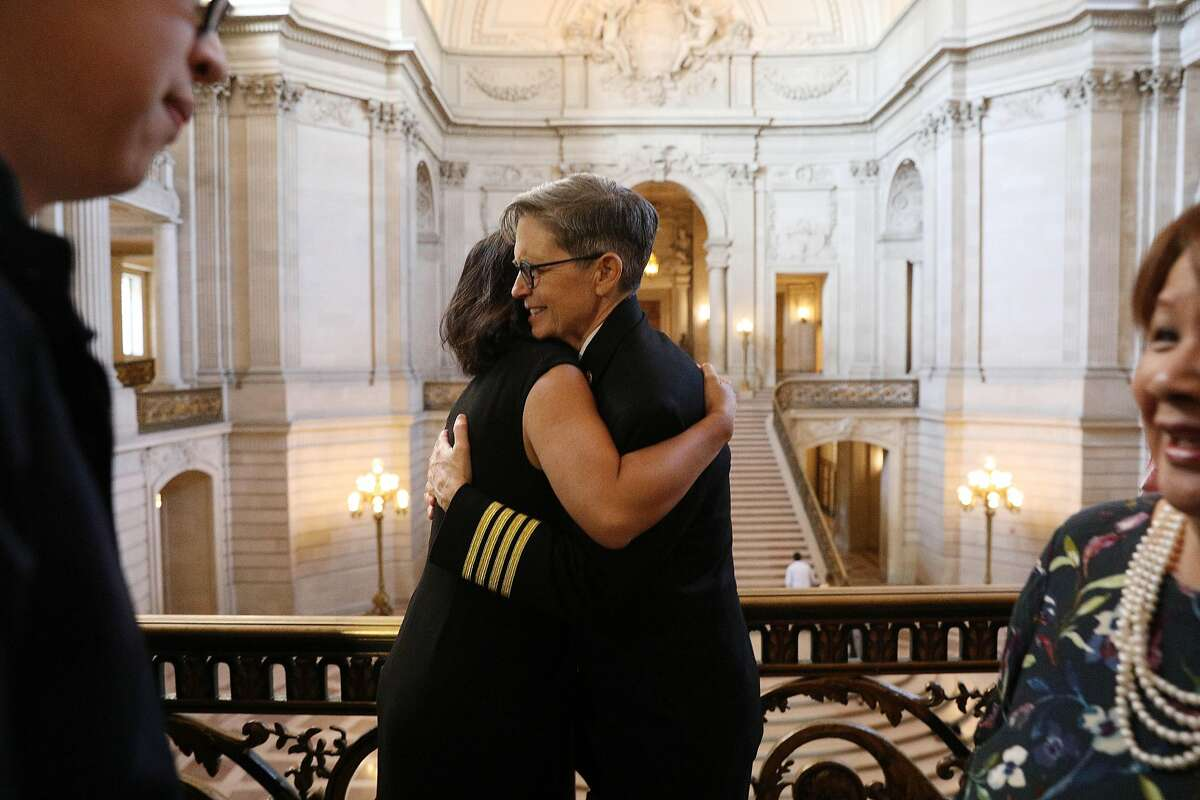 Deputy Chief Jeanine Nicholson (right) is congratulated by Carmen Chu,�Assessor, after a news conference where Mayor London Breed announced Nicholson as the new San Francisco Fire Chief on Wednesday, March 13, 2019 in San Francisco, Calif.