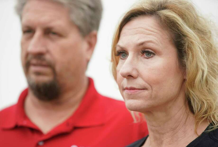 Scot Rice and his wife, Flo Rice, who was shot through both legs during the Santa Fe High School shooting last year while substitute teaching, talk Tuesday, March 12, 2019. Photo: Melissa Phillip, Staff Photographer / © 2019 Houston Chronicle