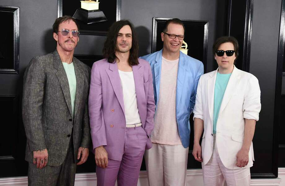 Scott Shriner, from left, Brian Bell, Patrick Wilson, and  Rivers Cuomo of Weezer arrive at the 61st annual Grammy Awards at the Staples Center on Sunday, Feb. 10, 2019, in Los Angeles. (Photo by Jordan Strauss/Invision/AP) Photo: Jordan Strauss / 2019 Invision