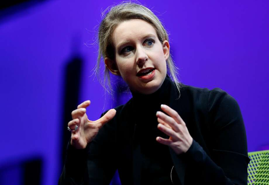 Elizabeth Holmes speaking at a Fortune Global Forum event in 2015. Photo: Connor Radnovich / The Chronicle