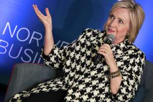 Former US Secretary of State, Hillary Rodham Clinton, attends an international conference focusing on gender equality at BI Norwegian Business School in Oslo, Friday, March 8, 2019. (Berit Roald/NTB scanpix via AP)