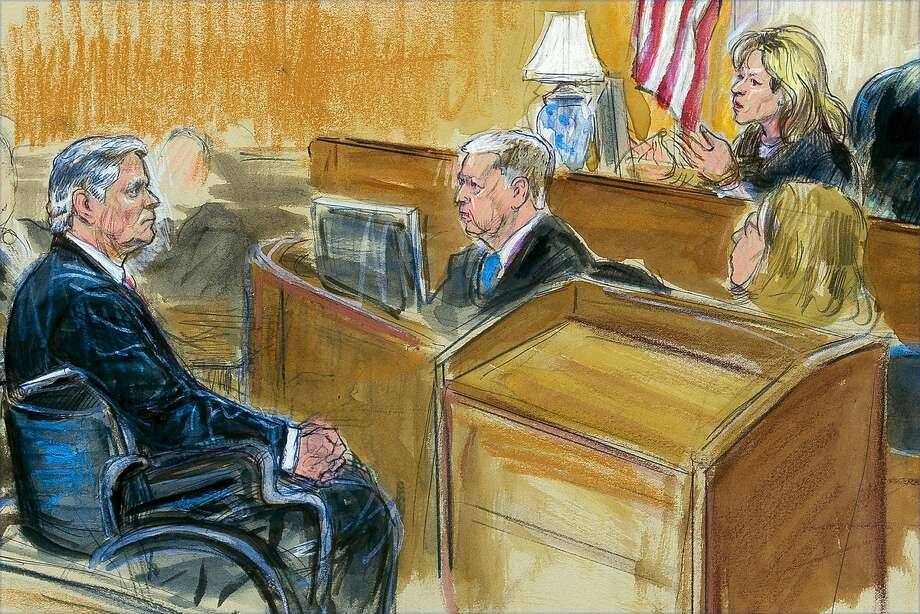 A courtroom sketch shows Paul Manafort in a wheelchair listening to Judge Amy Berman Jackson during his sentencing hearing in Washington. She harshly criticized Manafort for years of deception. Photo: Dana Verkouteren / Associated Press