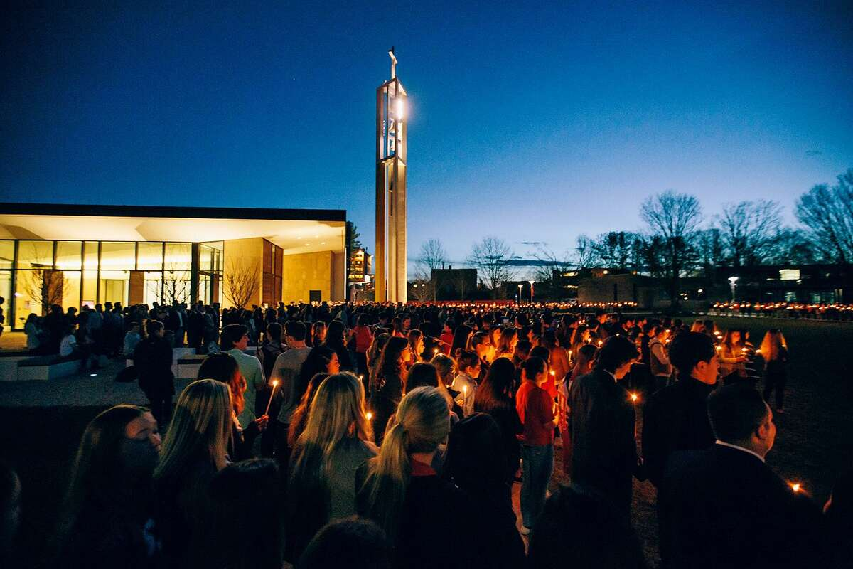 The Sacred Heart University community held a candlelight vigil in memory of student Caitlin Nelson who died on April 2, 2017.