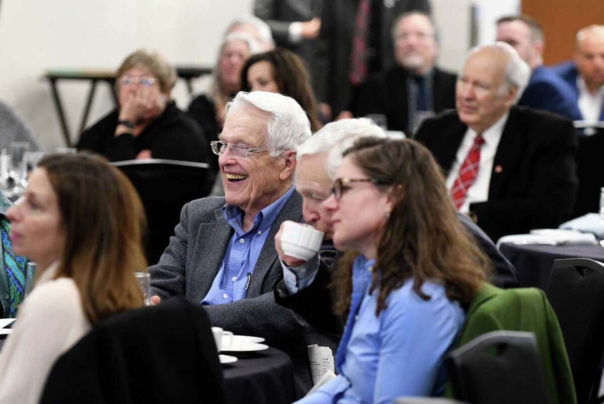 Audience members listen to Neil Golub, former president and CEO and current executive chairman of the board of The Golub Corporation, talk about challenges in the changing supermarket industry during a Times Union Leadership Luncheon Series event on Wednesday, March 13, 2019, at the Hearst Media Center in Colonie, N.Y. (Will Waldron/Times Union)