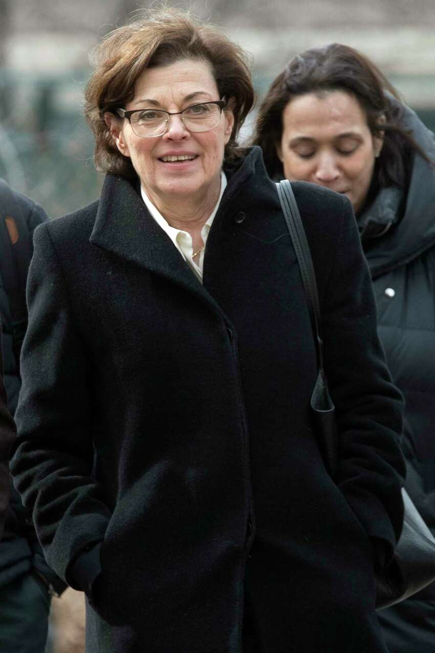 Nancy Salzman arrives at Brooklyn federal court on Wednesday, March 13, 2019. She was the first of six defendants in the federal criminal case to plead guilty. (Mary Altaffer / Associated Press)