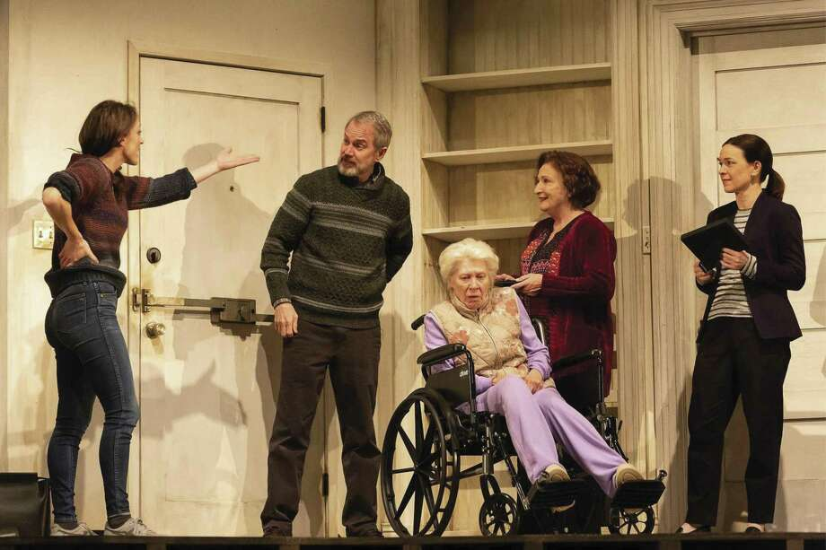 From left, Elizabeth Stahlamnn as Brigid Blake, Steve Key as Erik Blake, Annalee Jefferies as Momo Blake, Sharon Lockwood as Deirdre Blake and Elizabeth Bunch as Aimee Blake in the Alley's production of The Humans. The Humans, by Stephen Karam, is directed by Brandon Weinbrenner and runs March 1-24, 2019 in the Hubbard Theatre. Tickets available at alleytheatre.org.