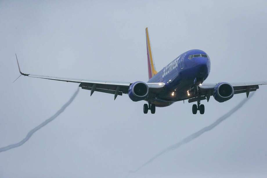A Boeing 737 MAX 8 operated by Southwest Airlines arrives for a landing at Hobby Airport, Wednesday afternoon, March 13, 2019 in Houston. The flight was already in the air on its way to Houston from Las Vegas when an emergency order grounding all 737 Max 8 and Max 9 aircraft was issued on Wednesday. Photo: Yi-Chin Lee, Staff Photographer / © 2019 Yi-Chin Lee / Houston Chronicle
