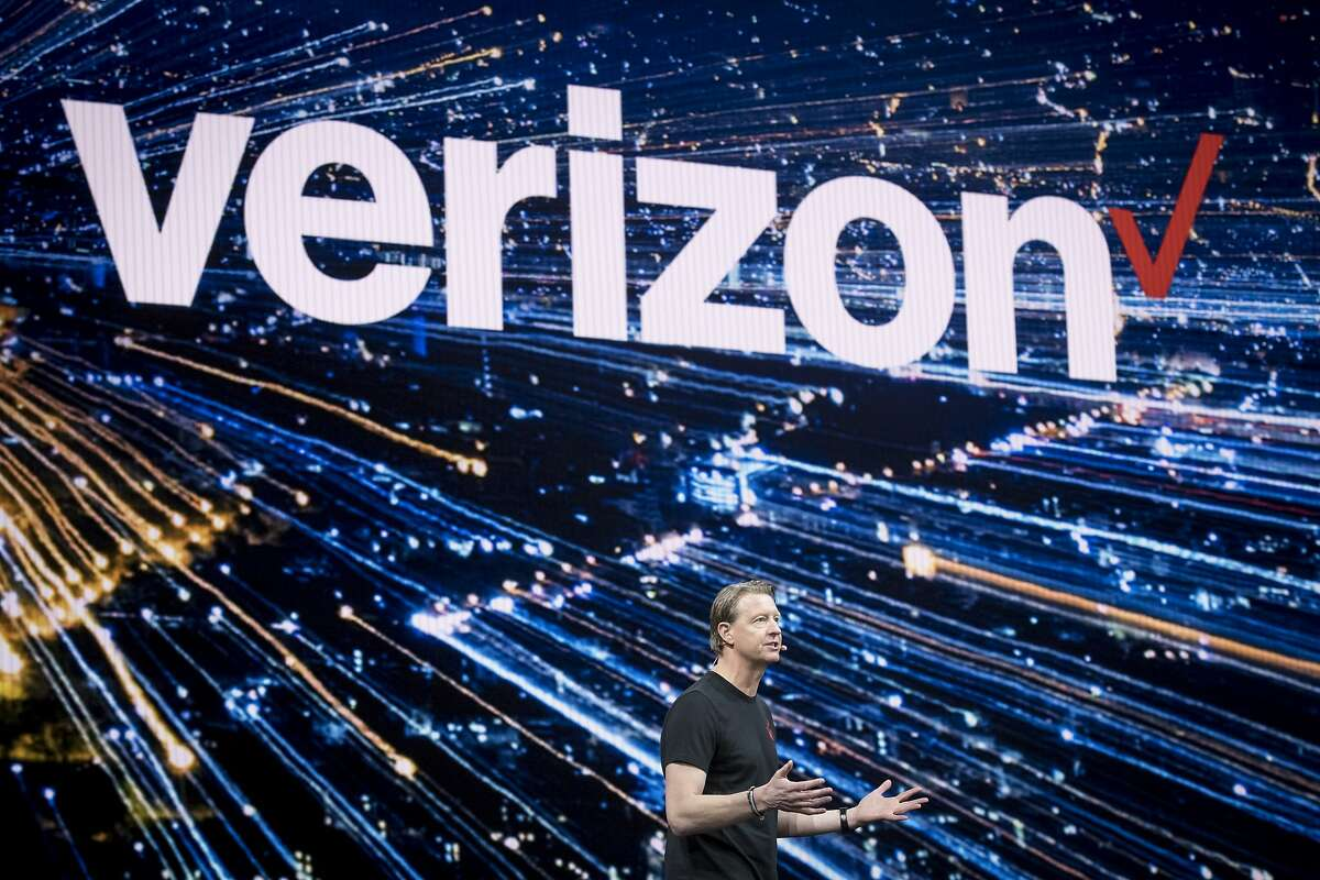 Hans Vestberg, chief executive officer of Verizon Communications Inc., speaks during the Samsung Electronics Co. Unpacked launch event in San Francisco, California, U.S. on Wednesday, Feb. 20, 2019. Samsung debuted its most extensive new lineup of smartphones, taking on Apple Inc. amid a slowing market with new low-end and premium models, 3-D cameras, an in-screen fingerprint scanner and faster 5G connectivity. Photographer: David Paul Morris/Bloomberg