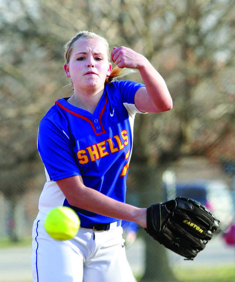 LCCC's Hannah Rexford, a freshman from Roxana High School, hurled a six-inning no-hitter for Lewis and Clark Community College earlier this week in a spring trip game against Bay College in Titusville, Fla. Rexford is shown in action last season for Roxana High. Photo: Telegraph File Photo