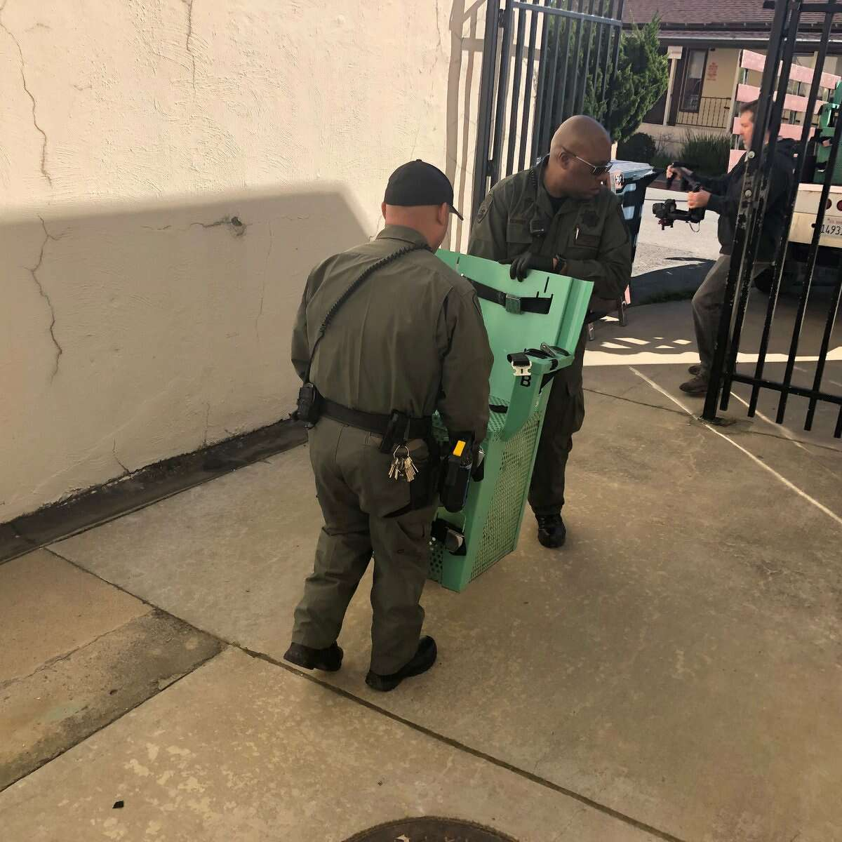 Photos show equipment being removed from the execution chamber at San Quentin after Governor Gavin Newsom announced a moratorium on executions on March 13, 2019.