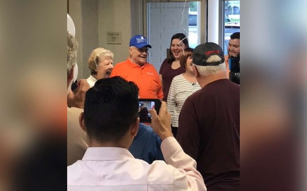 Bobie Miller celebrates his 90th birthday at Whataburger in Spring on March 13, 2019.