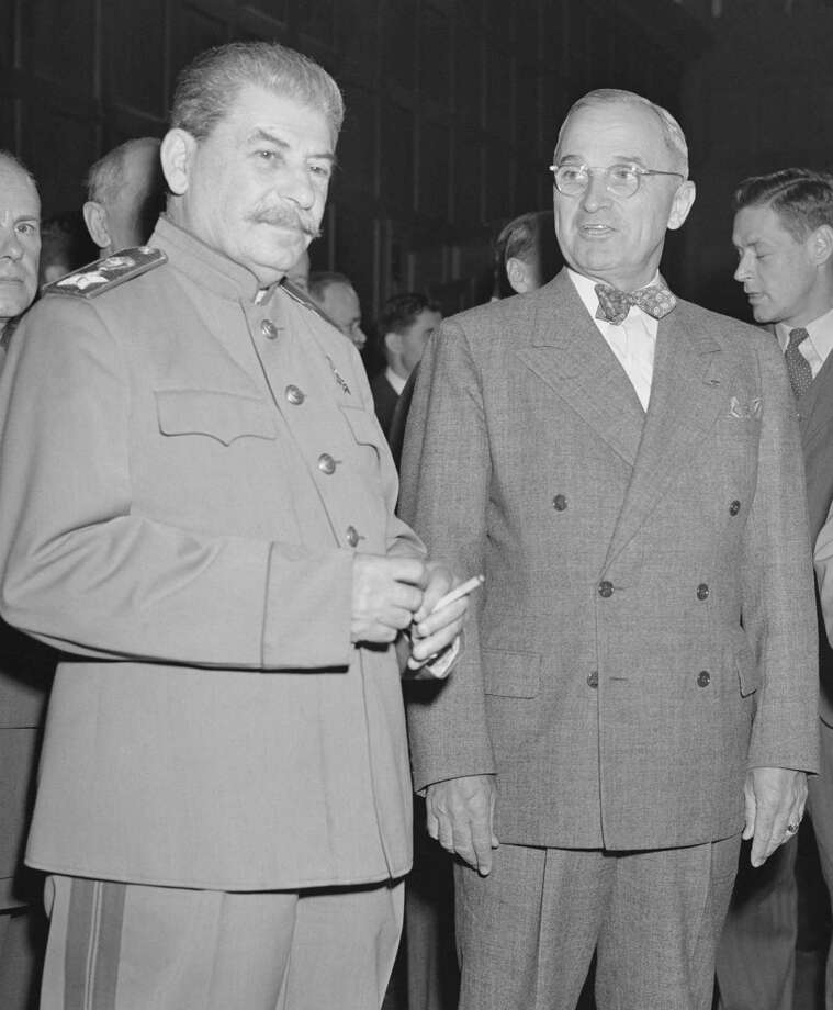 Soviet Union leader Josef Stalin, shown here with President Harry Truman in an undated photo, could have made good use of the surveillance capabilities now available via the internet and newer technology. Photo: /COURTESY PHOTO / U.S. NATIONAL ARCHIVES AND RECOR