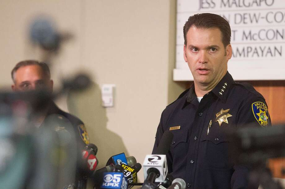 Vallejo police Chief Andrew Bidou discusses the Sunday, Oct. 16 shooting of Andrew Powell, 41, during a news conference at Vallejo City Hall on Monday, Oct. 17, 2016. Bidou announced his retirement Wednesday after a 31-year career in law enforcement. Photo: Chris Preovolos / SFGATE