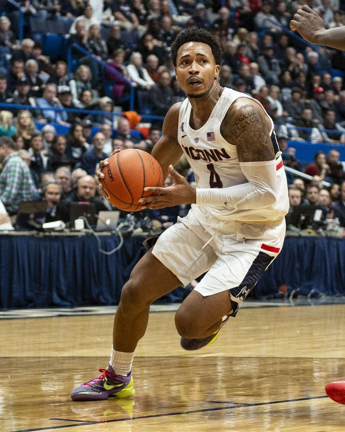 UConn senior Jalen Adams isn't projected to be selected in the 2019 NBA Draft, according to numerous mock draft websites.