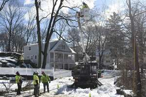 Crews remove trees and repair power lines on Brookside Park in Old Greenwich, Conn. Thursday, March 8, 2018. The area received about eight inches of snow with strong winds Wednesday and crews spent Thursday removing fallen trees and restoring power to the community.