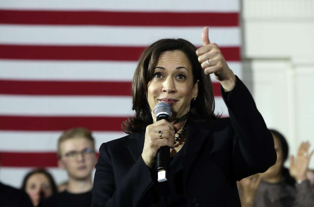 Democratic presidential candidate Sen. Kamala Harris, D-Calif., gestures as she speaks at a campaign event in Portsmouth, N.H. (AP Photo/Elise Amendola)