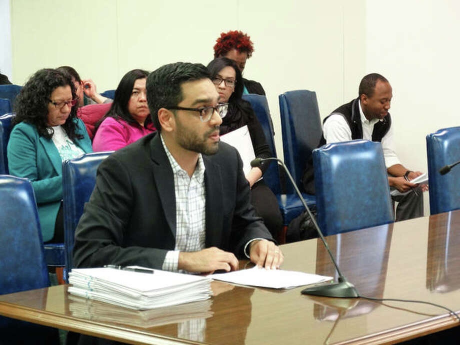 Aneesh Sohoni, executive director of the Teach for America program in Illinois, defends the alternative training program against criticism during a hearing Tuesday in Springfield before an Illinois House committee that works on elementary and secondary education budgets. Photo: Peter Hancock/Capitol News Illinois